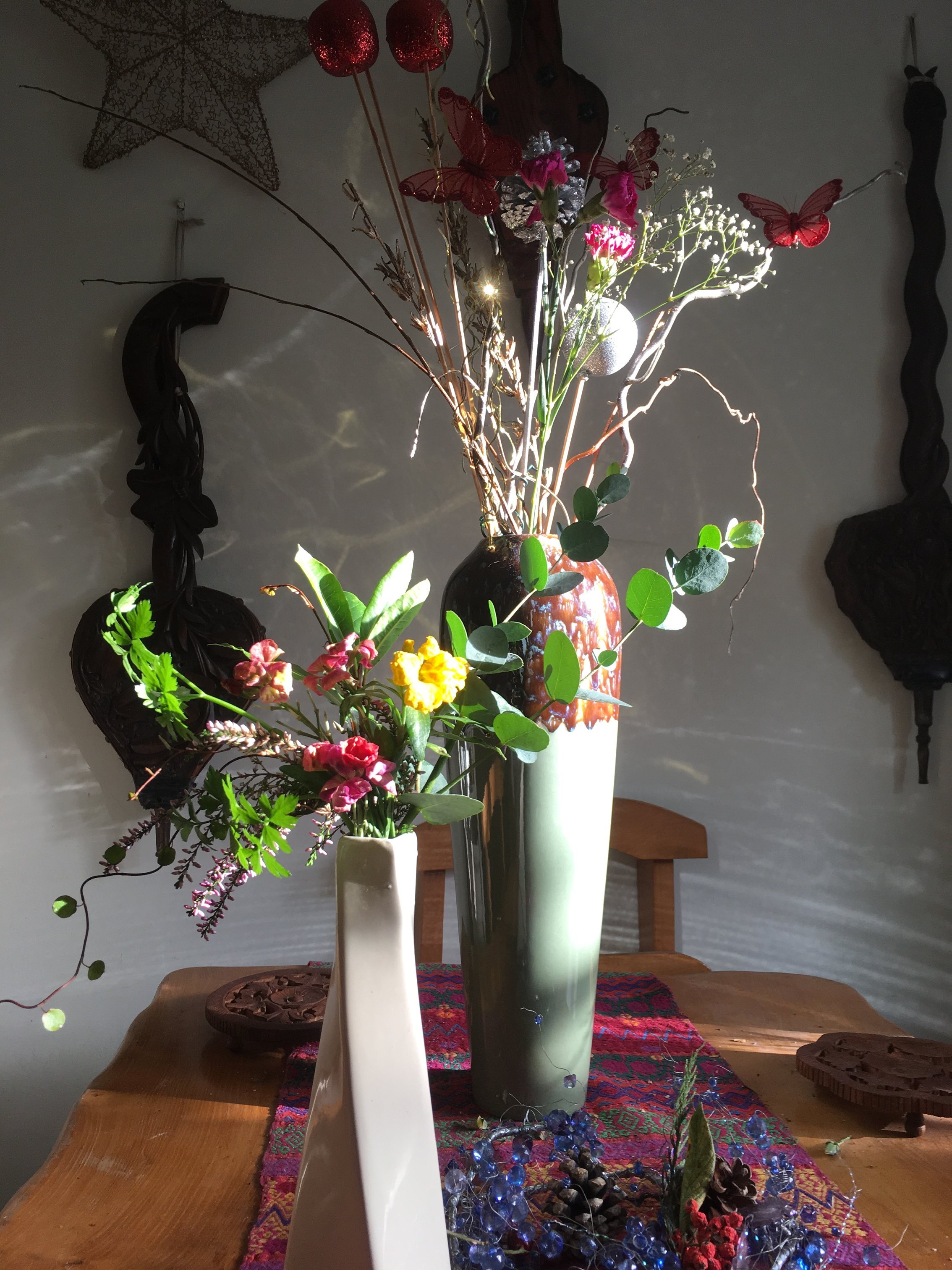 New year posy in a vase on Monday